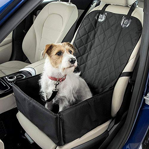 SaponinTree Dog Booster Car Seat Cover Waterproof Breathable Pet Dog Cat Car Booster Seat Mat Deluxe Portable Travel Car Carrier Bag with Safety Leash for Small Dogs Cats Puppy