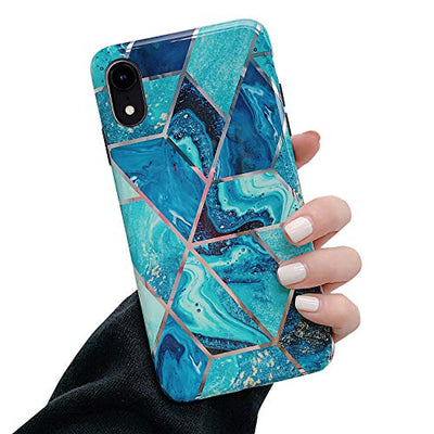 MoreChioce Compatible with iPhone XR Silicone Case, Marble Design Creative Geometry Cover,Bling Sparkle Flexible TPU Bumper Plating Drop Protective Case,Slim-Fit Anti-Scratch,Color #07