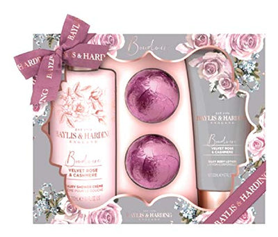 Easter gift Baylis & Harding Boudoire Velvet Rose & Cashmere Shower and Bath Gift Set | 300 ml Luxury Shower Creme | 200ml Silky Body Lotion | 2 x Bath Fizzers