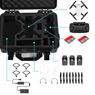 Lekufee Waterproof Hard Case for DJI Spark 4 Batteries and More Accessories.