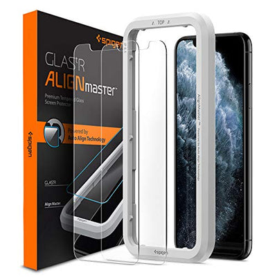 Spigen, 2Pack, iPhone 11 Pro Max Screen Protector/XS Max Screen Protector (6.5), AlignMaster, Auto-Align Technology, Case Friendly, iPhone 11 Pro Max Tempered Glass/iPhone XS Max Tempered Glass