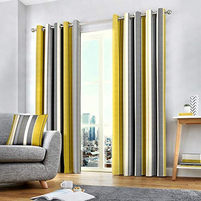 Tony's Textiles Wentworth Stripe Eyelet Ring Top Fully Lined Curtains - Ochre Yellow (46 Wide x 54 Drop)