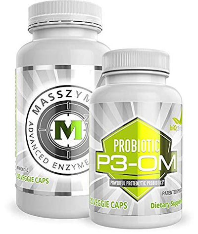 BiOptimizers - P3-OM and MassZymes Bundle - Premium Digestive Enzymes and Probiotics for Women and Men - Doctor-Formulated (120 MassZymes Capsules, 60 P3-OM Capsules)