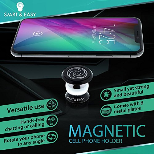 #1 SMART & EASY Magnetic Mobile Phone Holder - Mobile Phone Car Mount - Magnetic Phone Holder For Wall, Home, Office, Kitchen - Installs on Any Flat Surface - Now Comes With Free Ebook