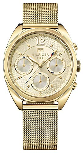 Tommy Hilfiger Womens Quartz Watch, multi dial Display and Gold Plated Strap 1781488