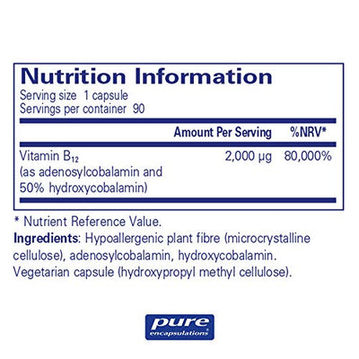 Pure Encapsulations - Adenosyl/Hydroxy B12 - Hypoallergenic Blend with Vitamin B12-90 Capsules