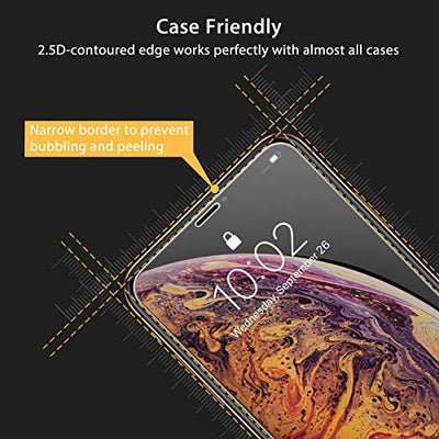 UNBREAKcable iPhone XS Max Screen Protector [2 Pack], 2.5D Double Defense Premium Tempered Glass for iPhone XS Max (20kg Force Resistant) [Anti-scratch, Anti-fingerprint, Bubble Free & Case-friendly]
