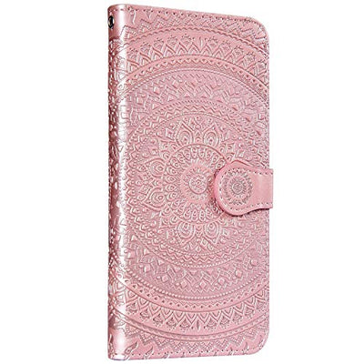 Saceebe Compatible with iPhone XS Max Case Leather Premium Embossed Leather Mandala Embossed Leather Case with Lanyard Mobile Phone Case Scratch-Resistant Shockproof Protective Case Rose Gold