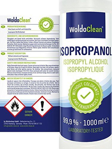 Rubbing Alcohol Ink for Cleaning 99,9% Isopropyl - Isopropanol Cleaner 1.000ml Cleaning Fluid IPA Solvent