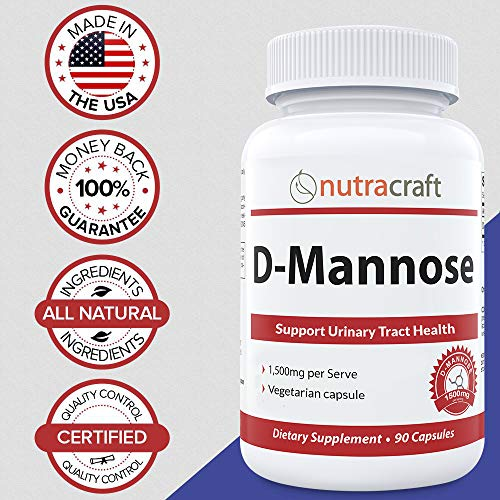 #1 D-Mannose Supplement – 1500mg per Serve to Combat Urinary Tract Infections & Support Urinary Health – 100% Pure with No Preservatives or Gluten – Made in The USA – 90 Vegetable Capsules
