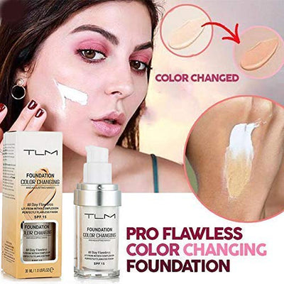 TLM Colour Changing Foundation,TLM Concealer Cover, 30ml Concealer -Abdeckung Flawless Farbwechsel Warmer Hautton Foundation