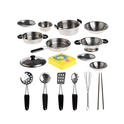 Nicwhite 20pcs Stainlesss Steel Children Pots And Pans Pretend