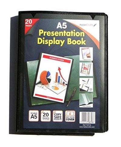 A5 20 Pocket (40 Views) Flexible Hard Cover Display Book Presentation Folder Folio (1 Pack)