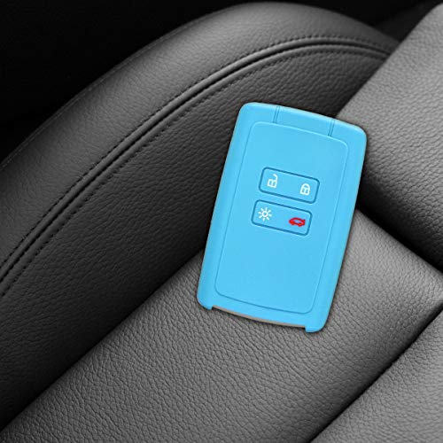 Blue kwmobile Car Key Cover for Renault Silicone Protective Key Fob Cover for Renault 3 Button Car Key