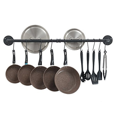 OROPY Wall Mount Pot Pan Bar Rack, 100cm Irony Industrial Hanging Rail Kitchen Utensils Hanger Organizer with 14 Hooks