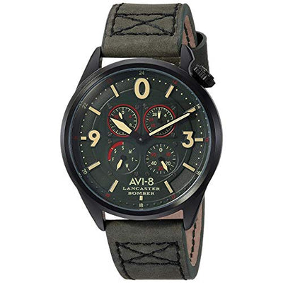 AVI-8 Men's 'Lancaster Bomber' Quartz Stainless Steel and Leather Aviator Watch