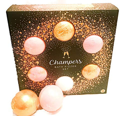 Easter Gift Champers Luxury Bath Fizzer Set | 6 Bath Bombs | Black Cherry | Raspberry | Strawberry | Blackberry | Lemongrass | Peach