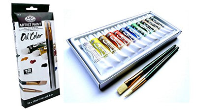 Royal & Langnickel Artist Oil Painting Set With 2 Brushes & 12 Assorted Colour Paint Tubes (12ml) Art Craft GiftOIL12