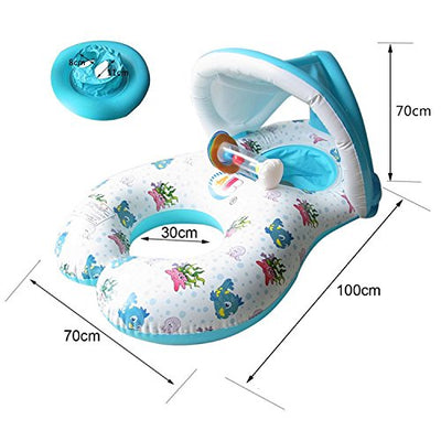 Come Baby Swim Ring,Swimming Ring,Mother Baby Pool Float,Inflatable Baby Swim Ring,Float Adjustable Sunshade,Boat double Seats for 6-36 Months Floating Leisure float toy,Outdoor Summer Pool Best Gift