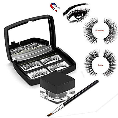 Magnetic Eyeliner with Magnetic Eyelashes, MOGOI [2019 Newest] 3D Waterproof Sweat-proof Magnetic Liquid Eyeliner with Brush and Mirror for Use with Magnetic False Lashes