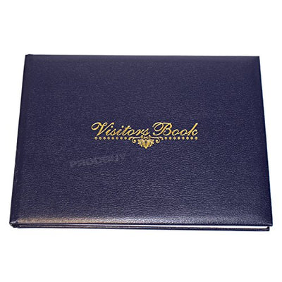 Faux Leather Visitors Book 128 Page Hotel Guest House Reception Record Log Pad (Navy Blue)