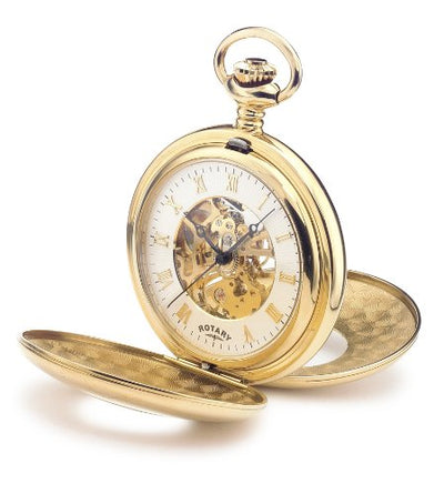 MP00713/01 Mens Rotary Gold Plated Half Hunter Pocket Watch