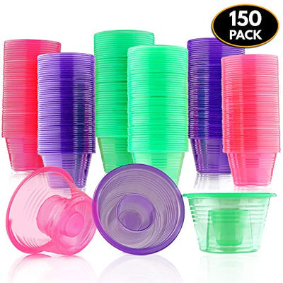 MATANA 150 Disposable Jager Bomb Shot Glasses - Hard Plastic Bomb Shot Cups in 3 Neon Colours - Heavy Duty, Highly Durable and Reusable Shot Glasses - Perfect for Shots, Red Bull & Jagermeister.