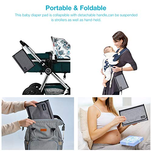 Lychee Portable Nappy Changing Mat,Nappy Changing Station Pad Waterproof Foldable Travel Baby Diaper Changing Kit,Ideal for Mom of Newborn Boys Girls