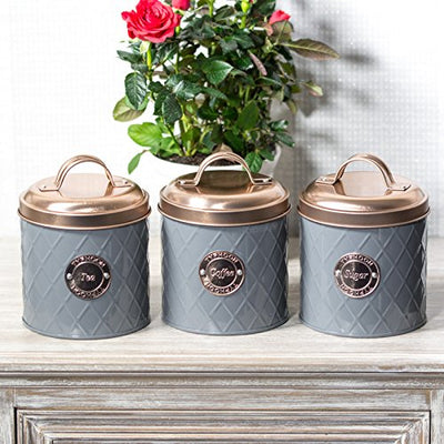 Grey Tea Coffee Sugar Storage Canisters with Copper Lids