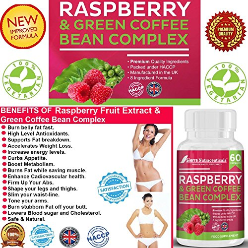 #1 Raspberry Fruit Extract and Green Coffee Bean Complex Combo Plus Glucomannan for Weight Loss★A Powerful Combination That Helps Breaks Down Belly Fat for Men & Women ★ Made in The UK.