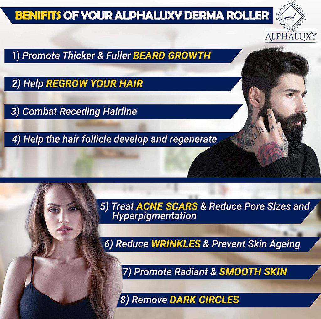 ALPHALUXY Best 0.5mm Microneedle Derma Roller for Hair & Beard Growth and Acne Scar Treatment | Stimulate Collagen | Professional Titanium Dermaroller Microneedling for Patchy Beard, Hair Loss & Scars