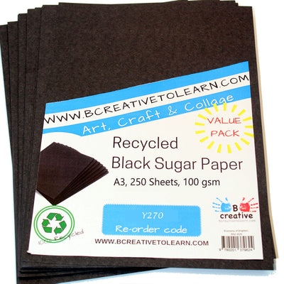 A3 Recycled Black Sugar Paper 100gsm Pack of 250 Art Sheets by BCreative®