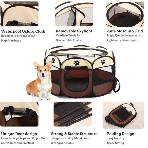 Portable Foldable Playpen For Pets