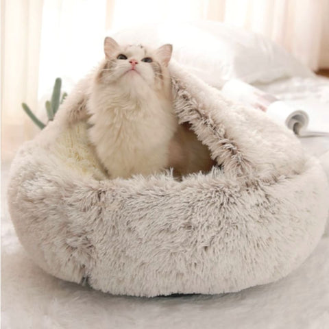 Puppiemate™ Calming Cat Plush Nest - Coffee