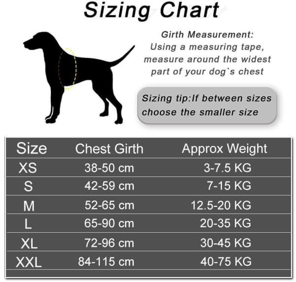 Dog Harness Sizing Table