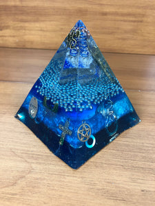 Large Lapis(3) Orgonite EMF Protection/Chakra Healing Pyramid