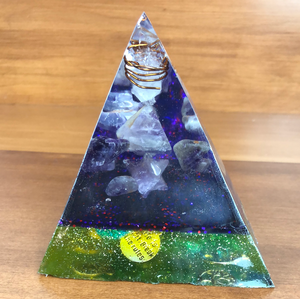 Large Amethyst Orgonite EMF Protection/Chakra Healing Pyramid