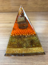 Load image into Gallery viewer, Medium Tiger Eye Orgonite EMF Protection/Chakra Healing Pyramid