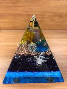 Large Carnelian Orgonite EMF Protection/Chakra Healing Pyramid
