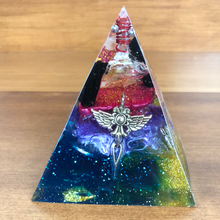 Load image into Gallery viewer, Medium Citrine/Black Tourmaline Orgonite EMF Protection/Chakra Healing Pyramid