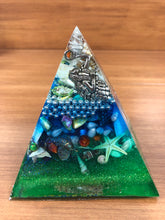 Load image into Gallery viewer, **SPECIAL** Aquamarine Orgonite EMF Protection/Chakra Healing Pyramid