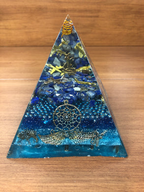 Large Lapis Orgonite EMF Protection/Chakra Healing Pyramid