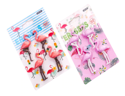 4 pack Flamingo Erasers