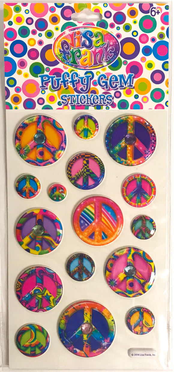 Lisa Frank Puffy Gem Stickers Peace Signs