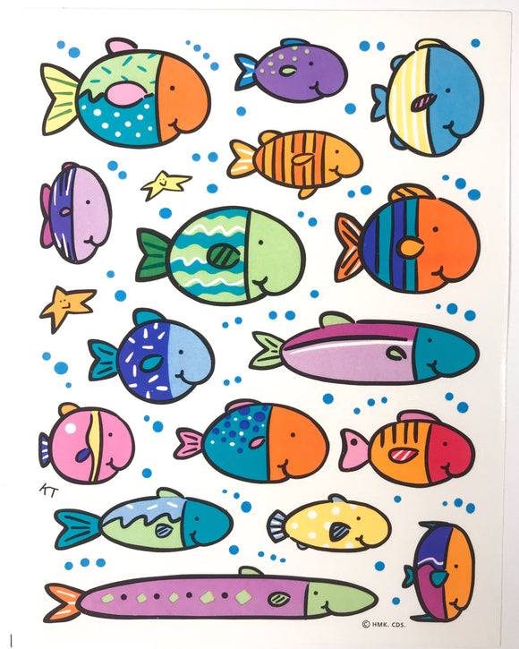 Cute vintage fish sticker sheet