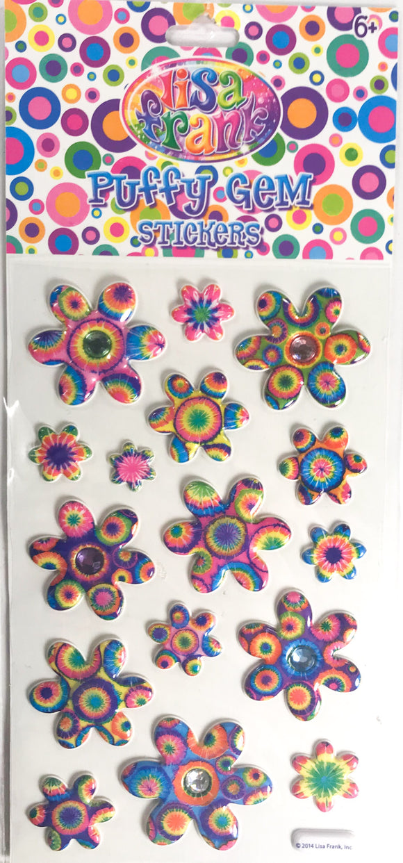 Lisa Frank Puffy Gem Stickers Tie Dye Flowers