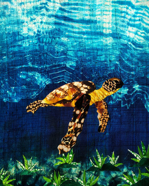 "Sea Turtle - Shibori Art Piece(20"" by 16"")"