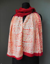 Load image into Gallery viewer, Madder root  -  Cotton Shibori Stoles (22 inches by 80 inches)