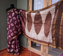Load image into Gallery viewer, Katappa Leaves - Tussar silk Shibori saree