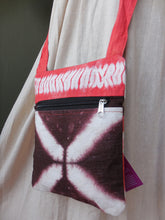 "Load image into Gallery viewer, Orange and Brown - Linen Shibori sling bag (9.5""/7.5"")"